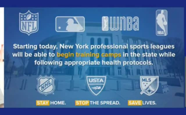 Professional sports leagues will be able to begin training camps in New York State while following appropriate health protocols amid the novel coronavirus (COVID-19) pandemic.