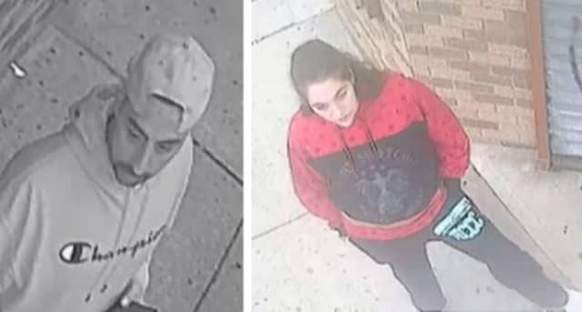 Authorities are seeking the public's help identifying two suspects who broke into a parked vehicle in Newark and stole cash.