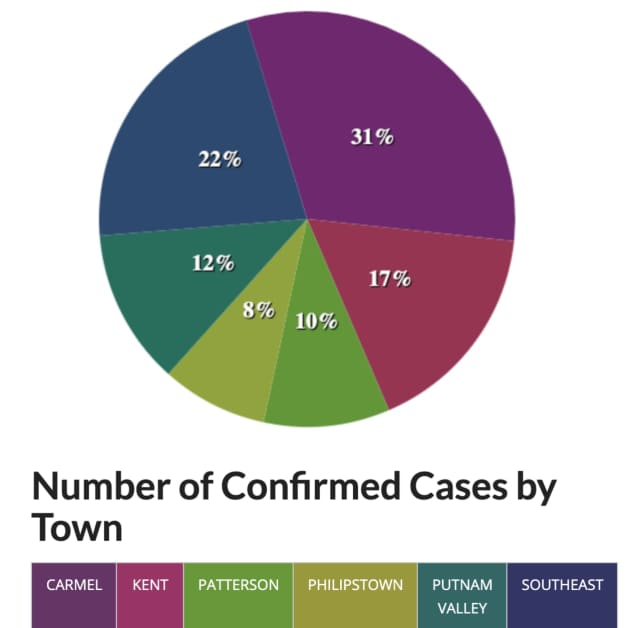 A breakdown of COVID-19 cases in Putnam County, by percentage.