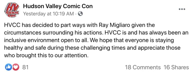 The post by the Hudson Valley company announcing their decision to part ways with Ray Migliaro.