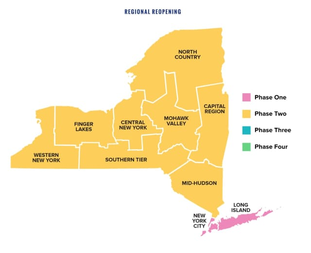 Some regions in New York will enter Phase 3 this week.