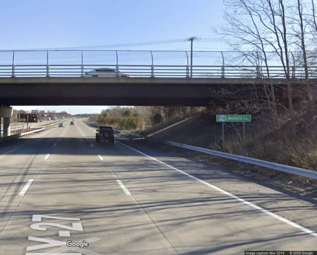 Two people were injured in a crash on Sunrise Highway near Patchogue.
