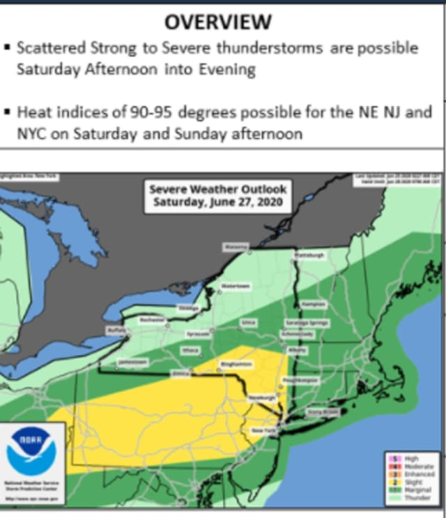 Scattered to strong severe thunderstorms are possible Saturday, June 27 in the afternoon and evening.