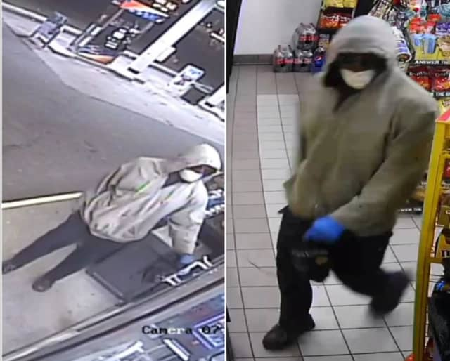 A surveillance photo of Jones during the gas station robbery.