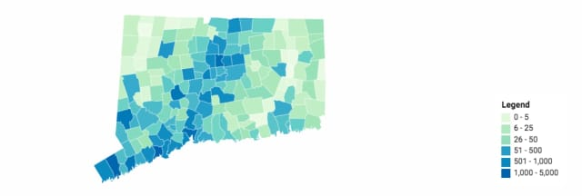 A look at counties with the most -- and least -- cases of COVID-19 in Connecticut.