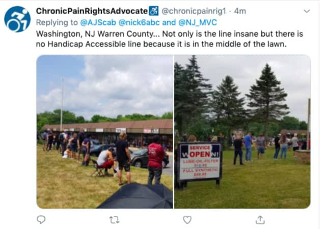 """Not only is the line insane but there is no Handicap Accessible line because it is in the middle of the lawn."" Pictured: Washington, Warren County."
