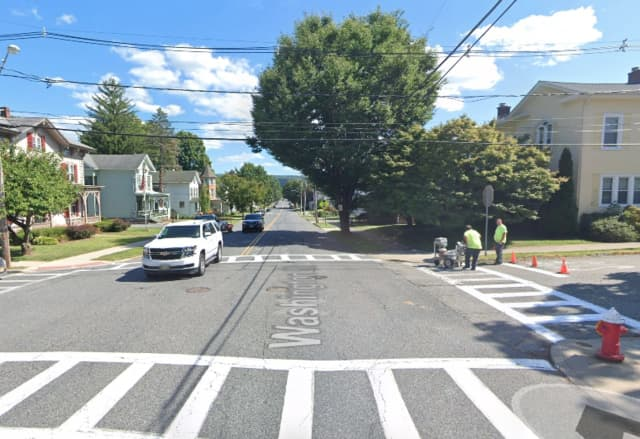 Intersection of Washington Street and West Moore Street in Hackettstown