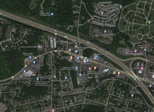 A man in a stolen car was located in a ditch off I-87 near Route 59 in Rockland County