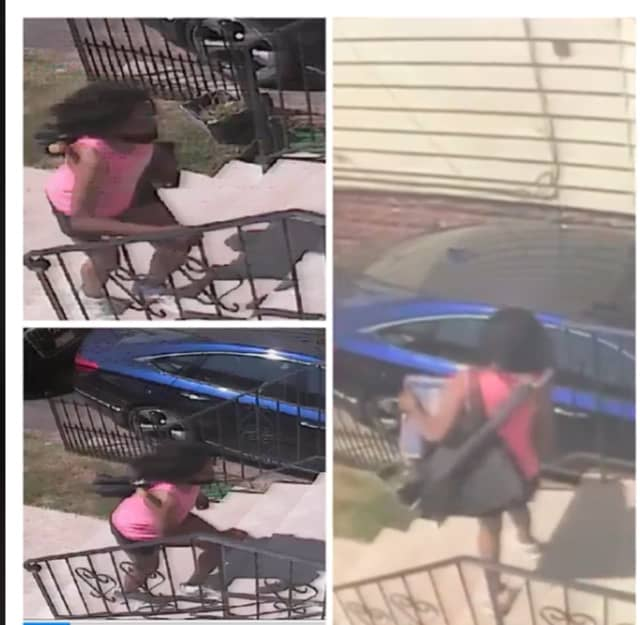 The woman in a pink top and jean shorts took the package from the porch of a home on the 100 block of Stuyvesant Avenue around 2:15 p.m., Thursday,  Newark Public Safety Director Anthony F. Ambrose said.