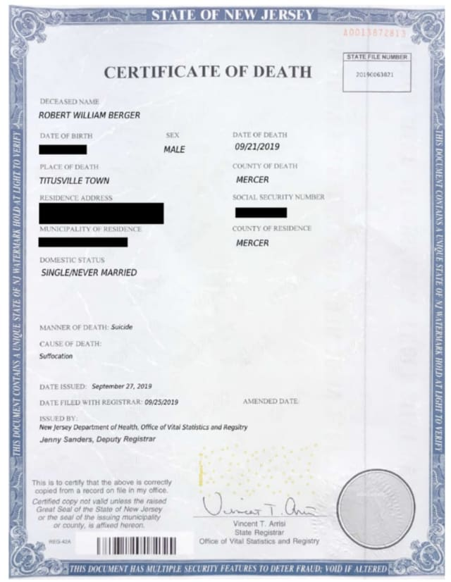 The allegedly phony death certificate.