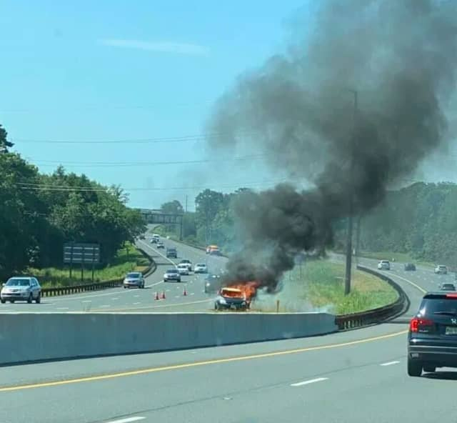 The scene of a fatal crash on the Garden State Parkway on Tuesday in Atlantic County. (Photo by Breaking AC @ https://www.facebook.com/breakingAC/)