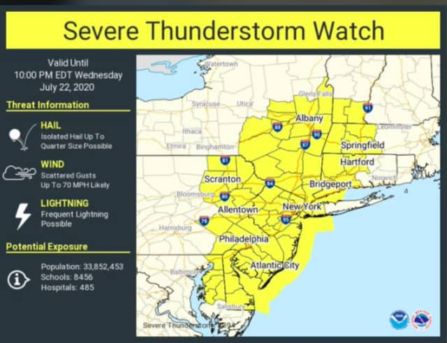 A look at areas (in yellow) where a Severe Thunderstorm Watch is in effect until 10 p.m. Wednesday, July 22.