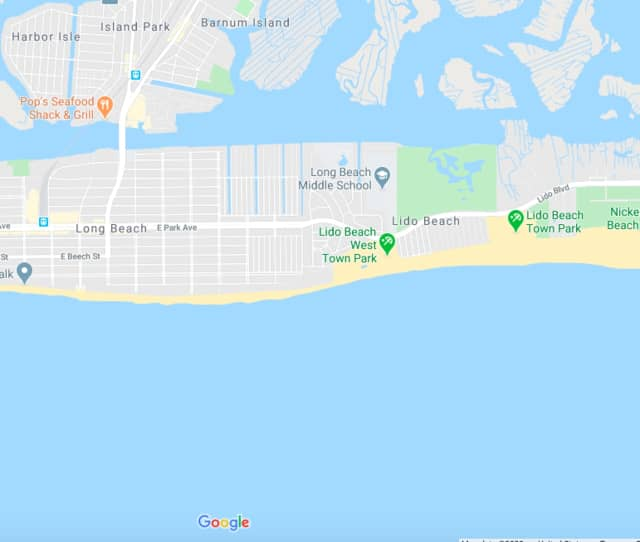 The area where the shark sighting occurred.