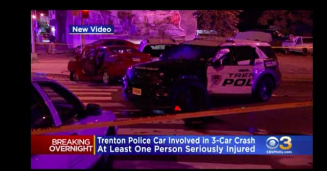 A Trenton patrol car was among three vehicles heavily damaged after a chase involving a stolen sedan ended in a collision early Wednesday. (CBS-3 Philly)