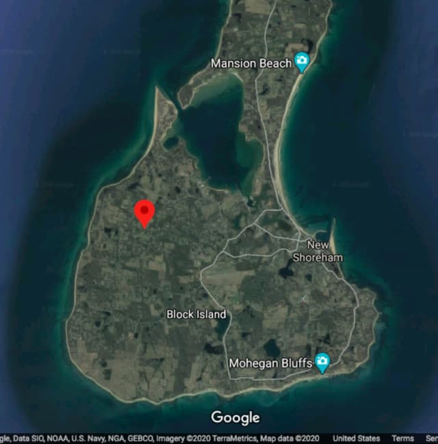 West Side Road in Block Island is located in the area shown in red.