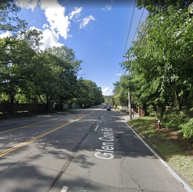 A police officer crashed on Glen Cove Road near The Pines in Old Westbury.