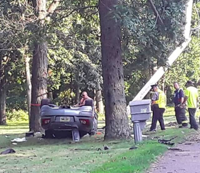 A 43-year-old Toms River man was killed after his convertible snapped a utility pole and flipped over. (Photo Courtesy of Ocean County Scanner News)