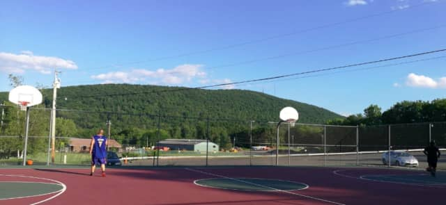 The basketball facilities at Tony Williams Town Park in Highland.