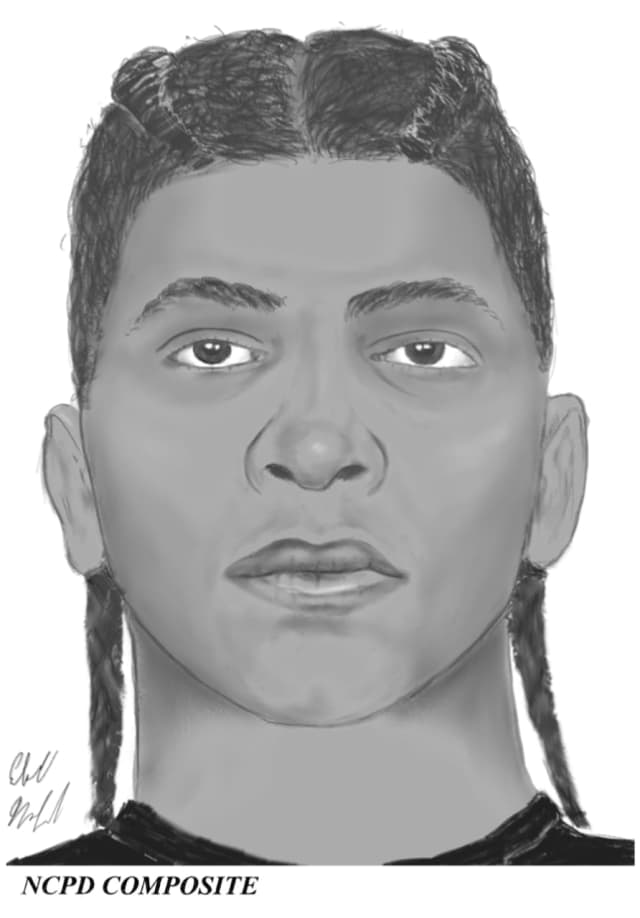A composite sketch of the suspect who allegedly threatening a victim with a knife.