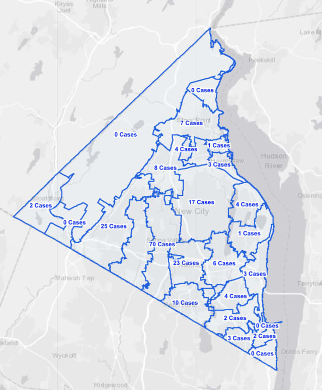 The Rockland County COVID-19 map on Wednesday, Sept. 16.