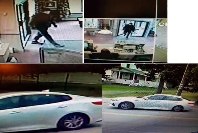 Surveillance footage of the wanted man and his vehicle