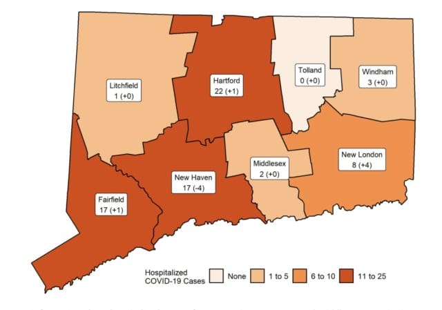 The number of COVID-19 patients hospitalized in each Connecticut county on Tuesday, Sept. 22.