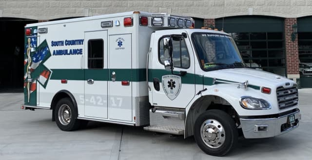 A South Country ambulance was struck by a Jeep in Medford.