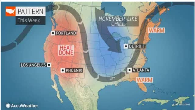 A look at the weather pattern for this week shows warm than average temperatures in the Northeast.