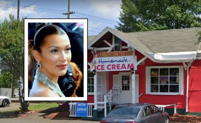 Bella Hadid stopped by Cranberry Junction in Hackensack with a friend.