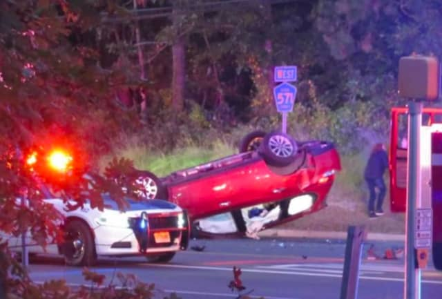 A Pathfinder flipped after being cut off by a DUI driver from Manchester, police said. (Photo courtesy of Ocean County Scanner News)