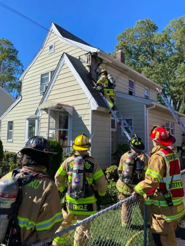 Four engine companies, one truck company, one rescue company and 26 firefighters took 30 minutes to extinguish a fire that was burning near the electrical box on the outside of the home. Stamford Police and EMS were also at the scene.