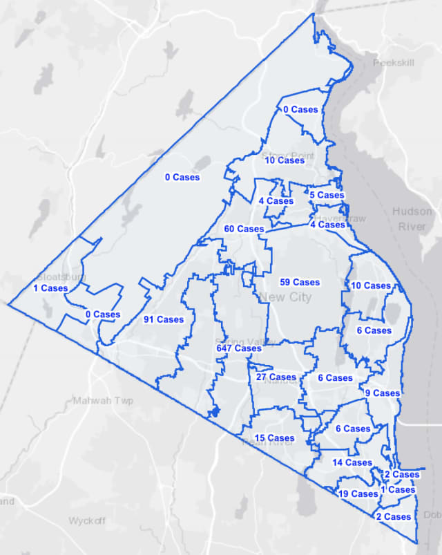The Rockland County COVID-19 map as of Wednesday, Oct. 14.