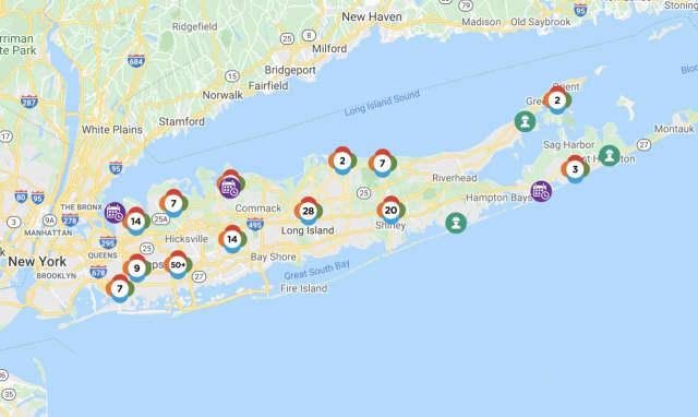 The PSEG Long Island outage map on Monday, Nov. 2.