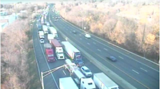 Northbound I-95 (left) in Fairfield at 7:30 a.m. Tuesday, Nov. 17,