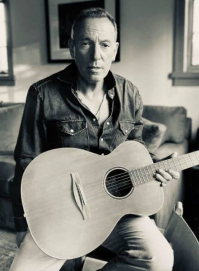 The Jersey Shore's Bruce Springsteen introducing a new album, and new guitar.