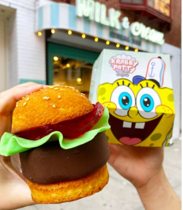 "The Krabby Patty from Milk & Cream Cereal Bar comes in a special ""Spongebob"" box."