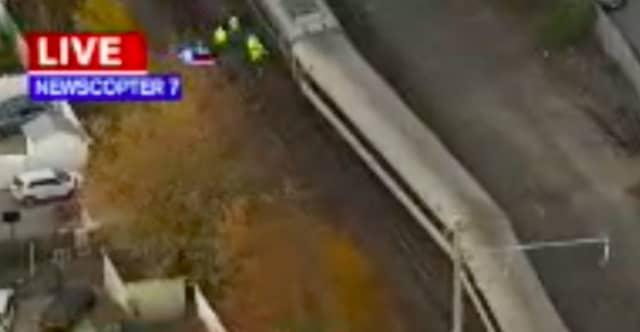Aerial view of last weeks train derailment. (Photo Courtesy Eyewitness News 7)