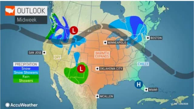 A look at the change in the weather pattern at midweek.