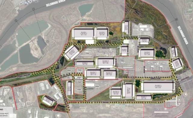 Artist's rendering of planned redevelopment of the U.S. Steel site in Bucks County.