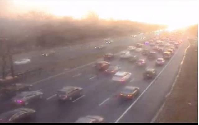 REAL TIME VIEW: Traffic backs up southbound side of the Garden State Parkway in Clark due to a serious crash Monday.