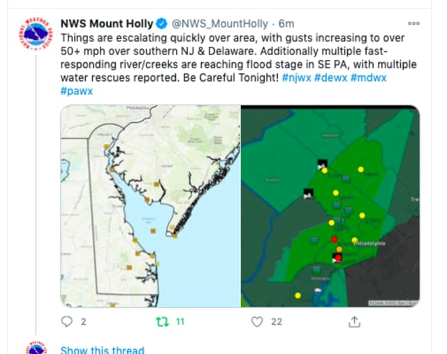 Strong wind gusts and flash flood warnings were issued by the National Weather Service out of Mount Holly for South Jersey and parts of Pennsylvania.