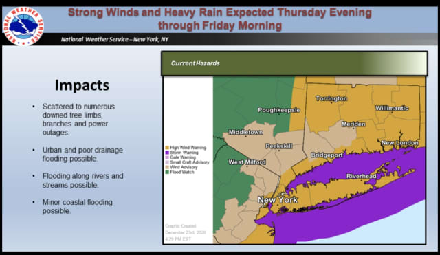 A High Wind Warning is in effect for much of the region.