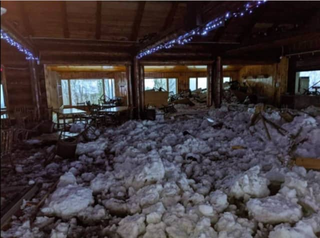 A look at the damage to a lodge at the Belleayre Mountain ski resort in Ulster County after the avalanche.