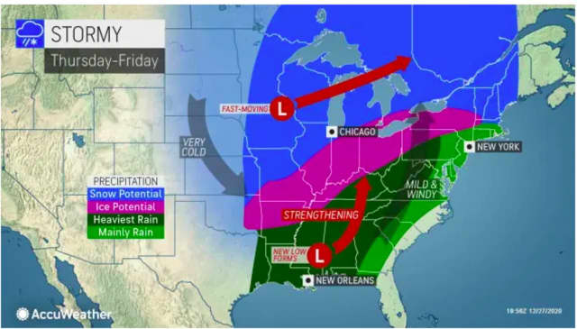 A look at the storm system expected to sweep through on New Year's Eve, Thursday, Dec. 31 into New Year's Day, Friday, Jan. 1.