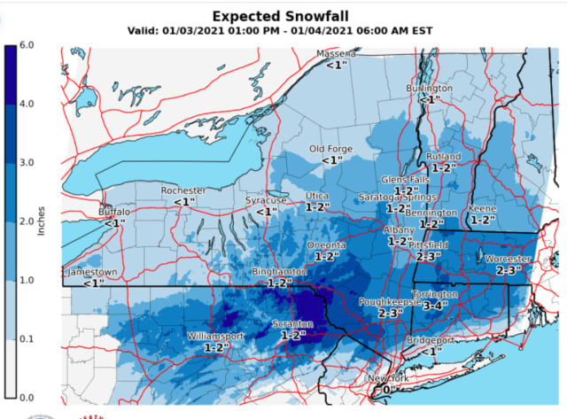 A look at projected snowfall totals from Sunday afternoon, Jan. 3 into early Monday morning, Jan. 4.