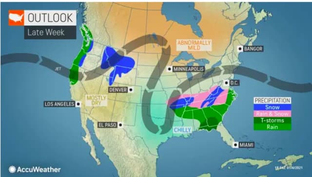 The weather pattern shift that is expected late in the week.