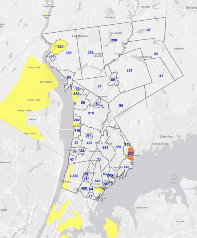 The latest breakdown of active COVID-19 cases in Westchester on Wednesday, Jan. 6.