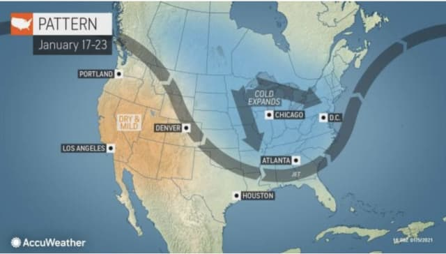 An extended cold weather pattern is expected right at the middle of the month of January.