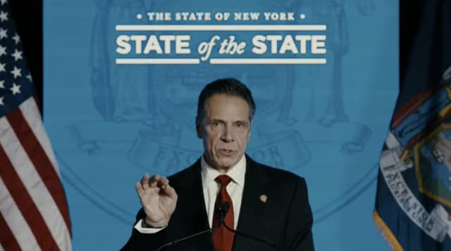 "New York Gov. Andrew Cuomo giving the ""State of the State."""