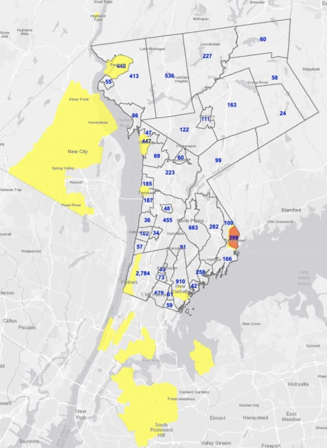 The breakdown of COVID-19 cases in Westchester on Thursday, Jan. 14.
